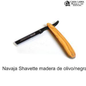 Navaja de afeitar Dovo Shavette madera de olivo/negra