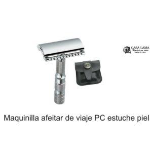 Maquina de afeitar de viaje PC con estuche de piel Merkur