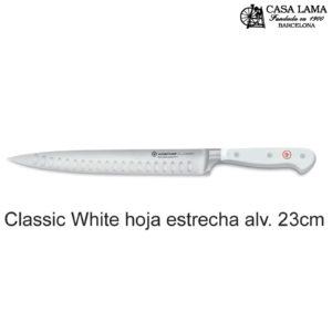 Cuchillo Wüsthof Classic White Chef hoja estrecha alveolada 23 cm