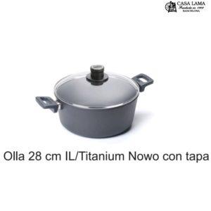 Olla con tapa 28cm Woll Inducción/Line Titanium Nowo