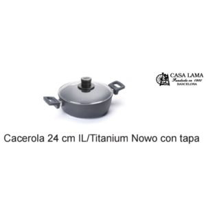 Cacerola con tapa 24cm Woll Inducción/Line Titanium Nowo