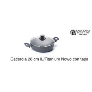 Cacerola con tapa 28cm Woll Inducción/Line Titanium Nowo