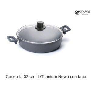 Cacerola con tapa 32cm Woll Inducción/Line Titanium Nowo